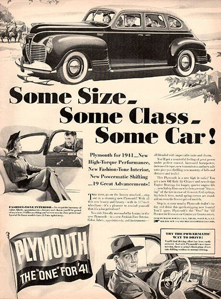 1940 Plymouth The One for 41 Original Car Print Ad