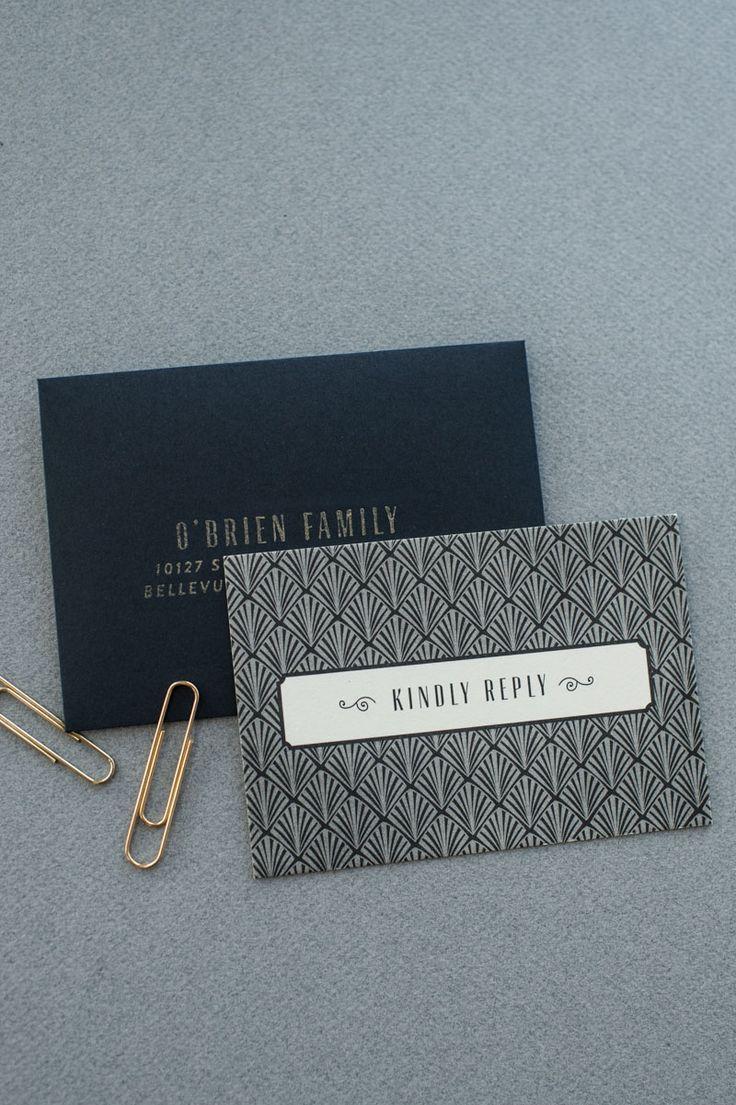 Art Deco Gold Foil Wedding Invitations by Carina Skrobecki Design via Oh So Beautiful Paper (3)
