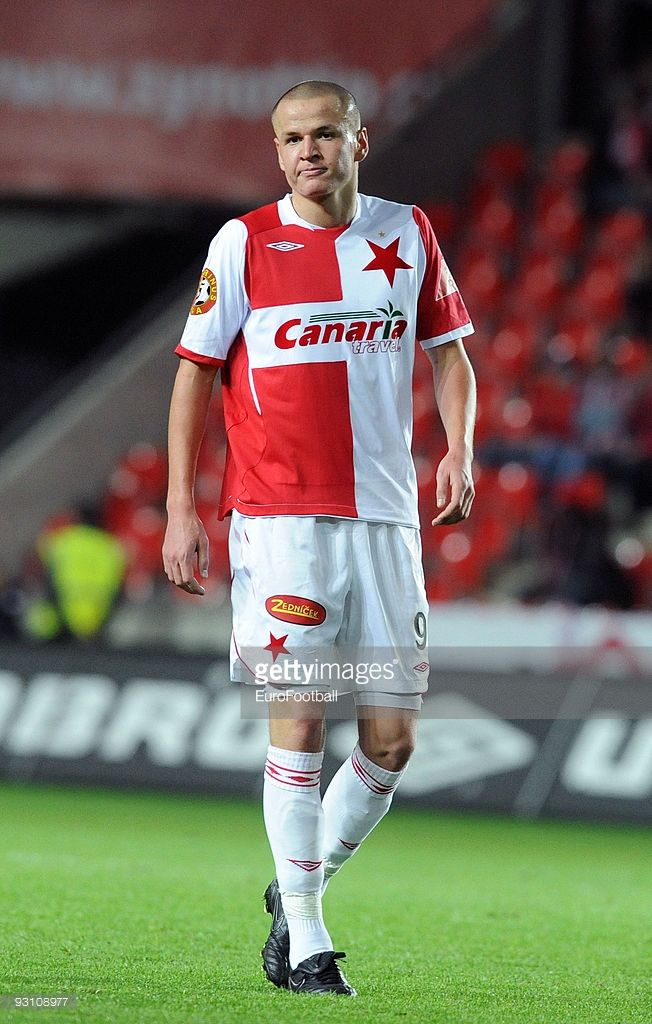 Adam Hlousek of SK Slavia Praha during the Gambrinus Liga match between SK Slavia Praha and SK Sigma Olomouc held on October 26, 2009 at the Stadion Eden, in Prague, Cezch Republic.