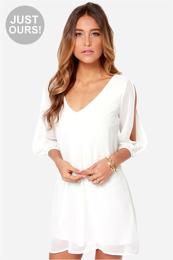 LULUS Exclusive Shifting Dears Ivory Long Sleeve Dress at LuLus.com!