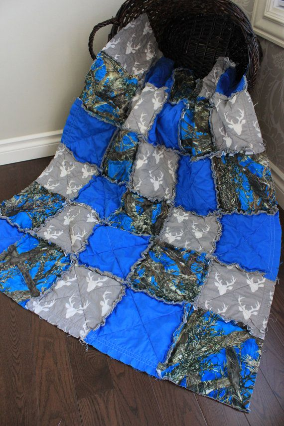 Baby Rag Quilt Baby Boy Quilt Baby Camo Quilt Blue by RozonsRags