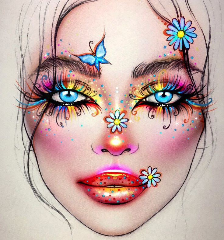 стойкая крем-краска рисунок грима на лице карандашом на изо этом фото