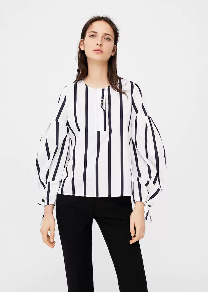 61b30b65d472a Mango Puffed Sleeves Blouse White Navy Size UK 8 rrp 29.99 DH089 SS 09   fashion  clothing  shoes  accessories  womensclothing  tops (ebay link)