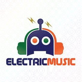 Exclusive Customizable Robot Logo For Sale: Electric Music | StockLogos.com