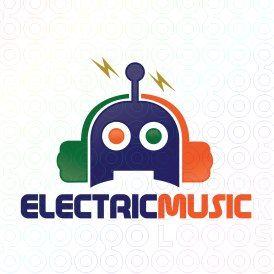 Exclusive Customizable Robot Logo For Sale: Electric Music   StockLogos.com