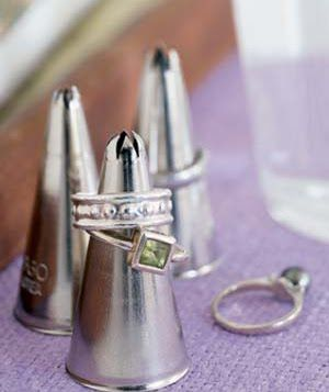Icing tip as ring display - so sweeeeeet!  jewelry display  Gift Shop Magazine  www.giftshopmag.com