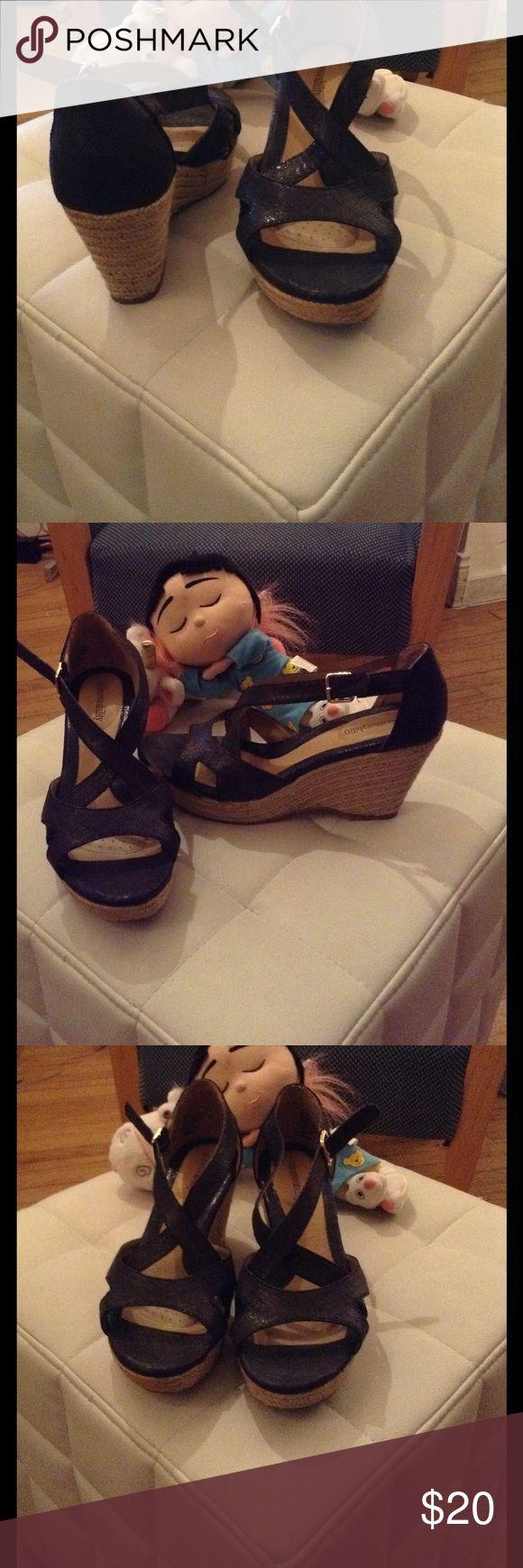 Navy blue espadrilles Cute wedge Sandals, excellent for jeans or dress! sole (sense) ability Shoes Espadrilles