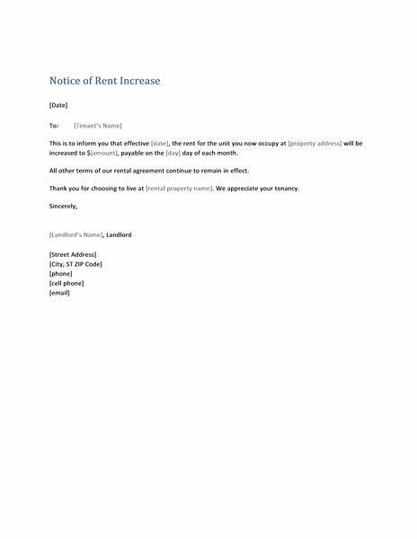 notice of rent increase  form letter