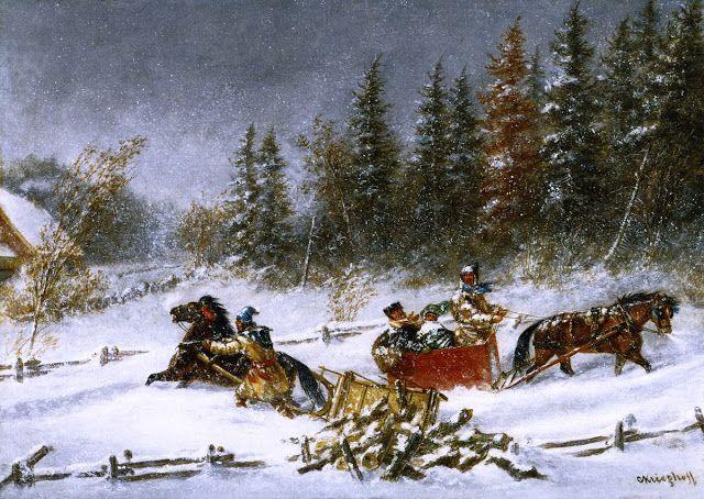"Cornelius Krieghoff (Dutch-born Canadian painter, 1815-1872) - ""A Winter Incident"""