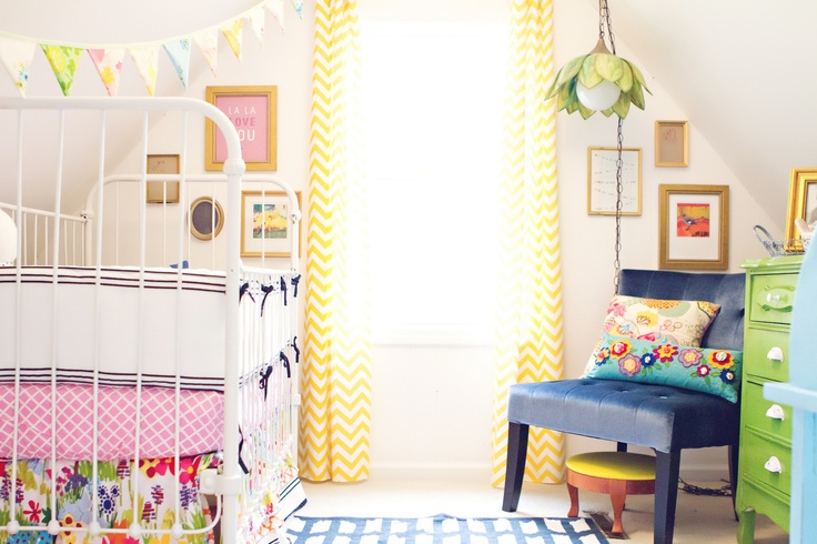 Eclectic Mix Nursery, as seen in House of Fifty mag by Carley Slater: Nurseries, Bright Color, Colors, Little Girls Rooms, Baby Rooms, Baby Girls Rooms, Chevron Curtains, Girl Rooms, Kids Rooms
