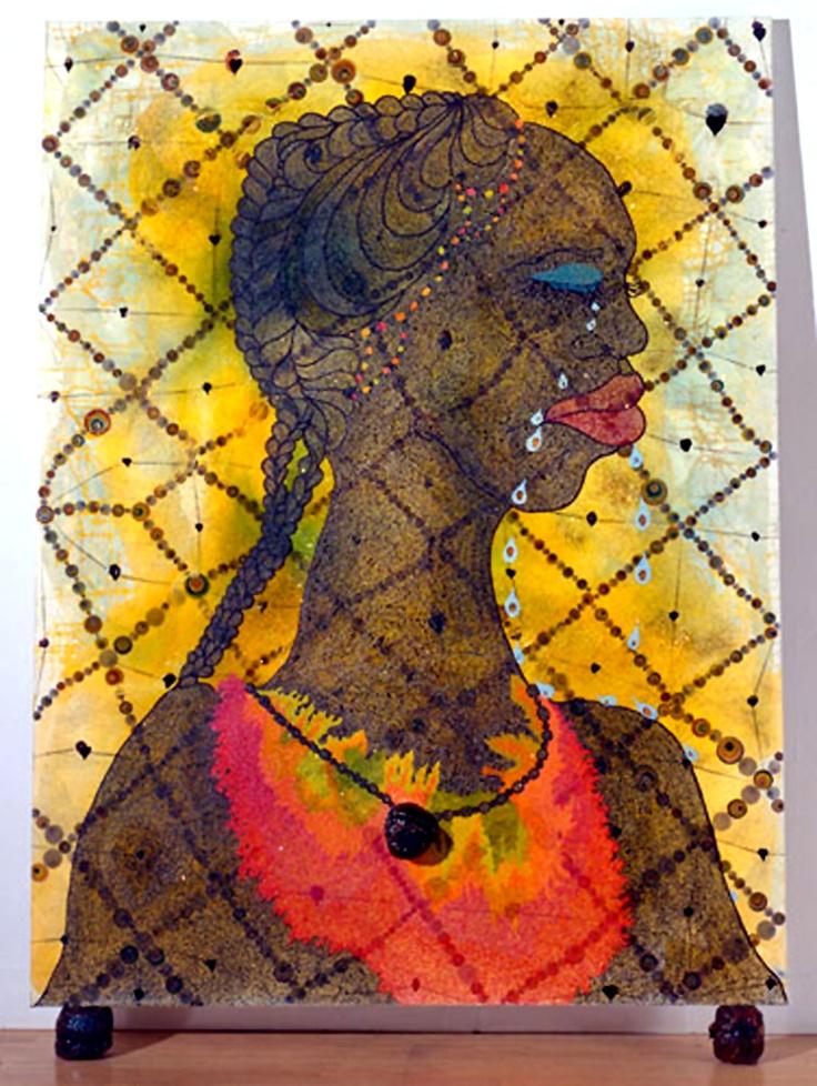 "Chris Ofili - ""No Woman No Cry"" 1988 elephant dung painting by chris Ofili no women no cry, i like it"