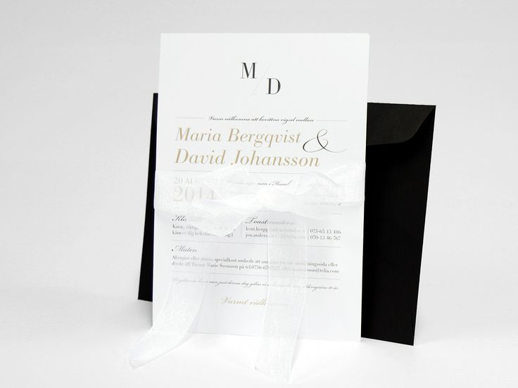 bröllopskort med svart kuvert och band. Design inbjudan vacker print