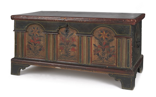 Lancaster Pennsylvania Architectural Dower Chest 18th c., 24.75 h x 47.75 w: Cat, Hope Chest