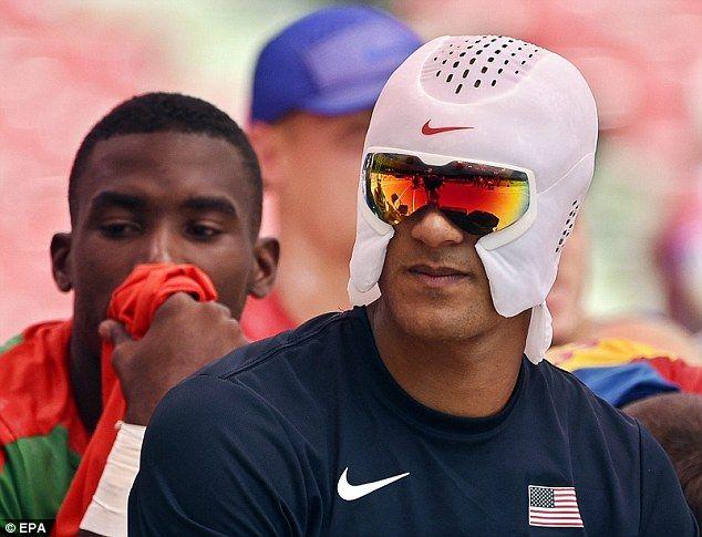 American decathlon star Ashton Eaton models the new Nike 'cooling mask' at the World Championships