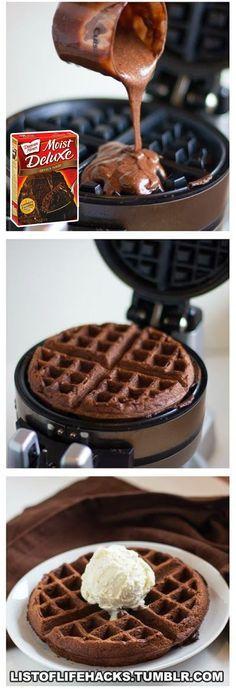 [Chocolate Waffle Cake and Ice Cream] List Of Life Hacks Tumblr | Hack Life