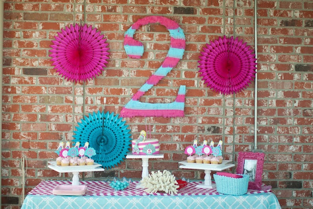 Mermaid Party... Love the big # 2!: 2Nd Birthday Parties, Party'S, Mermaid Parties, Birthdays, War Parties, Parties Ideas, Party Ideas, Mermaids Parties, Birthday Ideas