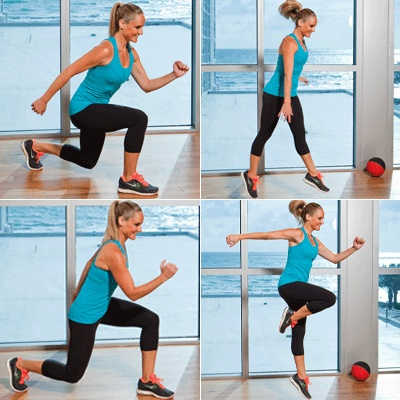 Switch lunge and hop.... great plyo to get the heart rate soaring!! Be sure knees DO NOT go past toes on the lunge!