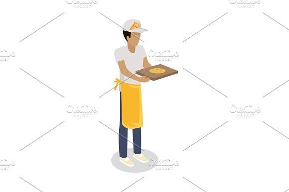 Pizza Seller with Fresh Cooked Pizza #vector