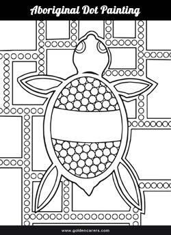 Aboriginal Dot Painting Template for Coloring.