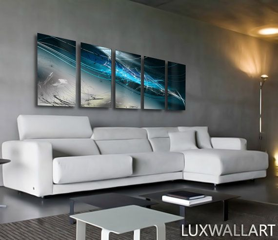 Abstract Modern Contemporary Industrial Wall Art  Ocean Blue by LuxWallArt   Etsy