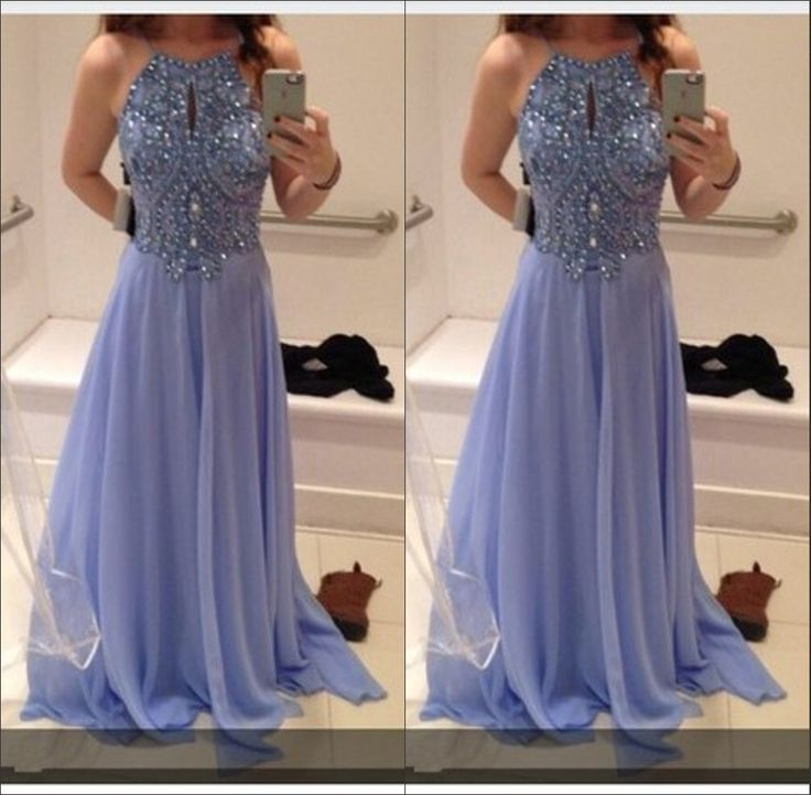 Best Selling Chiffon Long Prom Dresses,Beaded Bodice Prom Gown,Halter Homecoming Dresses,Charming Prom Dresses