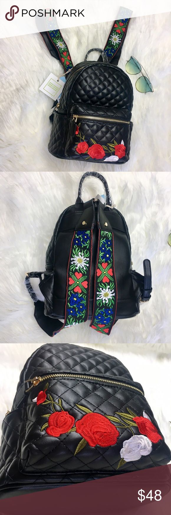 "Rose Mini Backpack Beautiful quilted vegan leather mini backpack with patchwork detail and embroidered straps. Make a statement this summer, everywhere you go! Perfect for festival season! Backpack measures 11"" (from top handle to bottom) by 9"" Bags Backpacks"
