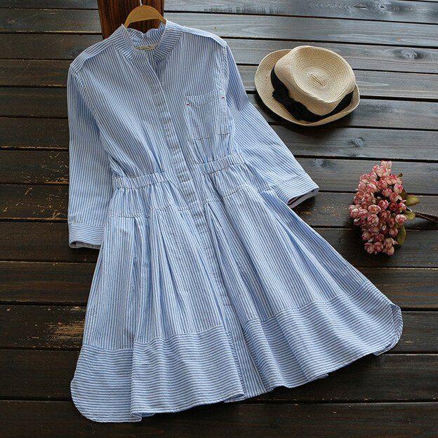 Mori Girl Stripes Stand Collar Three Quarter Sleeve A-line Dress