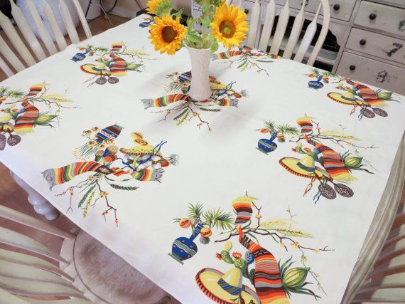 Wilendur Fiesta Tablecloth Mexicali by VintageShoppingSpree