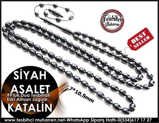 Siyah Jaguar 99'luk Katalin Tesbih 7*10,5 mm Siyahın Asaleti Ürün Kodu: TM6912