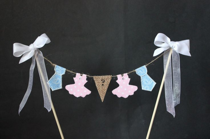 Gender reveal cake topper, ties or tutus baby shower party cake, cake bunting, cake banner, cake decoration, boy or girl baby shower by SoLuvli on Etsy https://www.etsy.com/listing/214649560/gender-reveal-cake-topper-ties-or-tutus