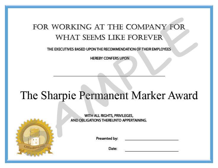40 best work awards images on Pinterest Employee awards - employee appreciation certificate template free