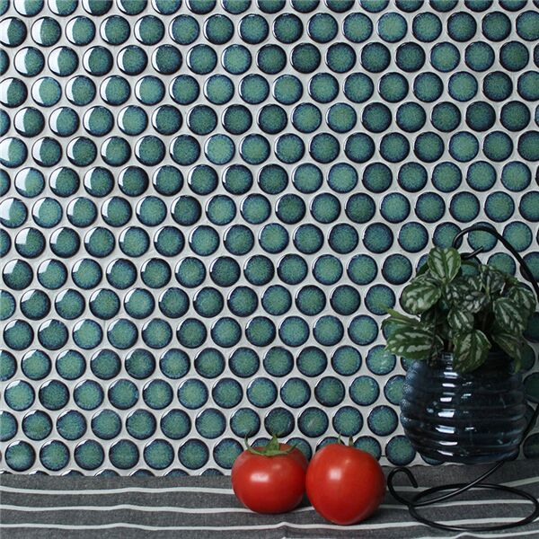 vintage green penny round mosaic tile