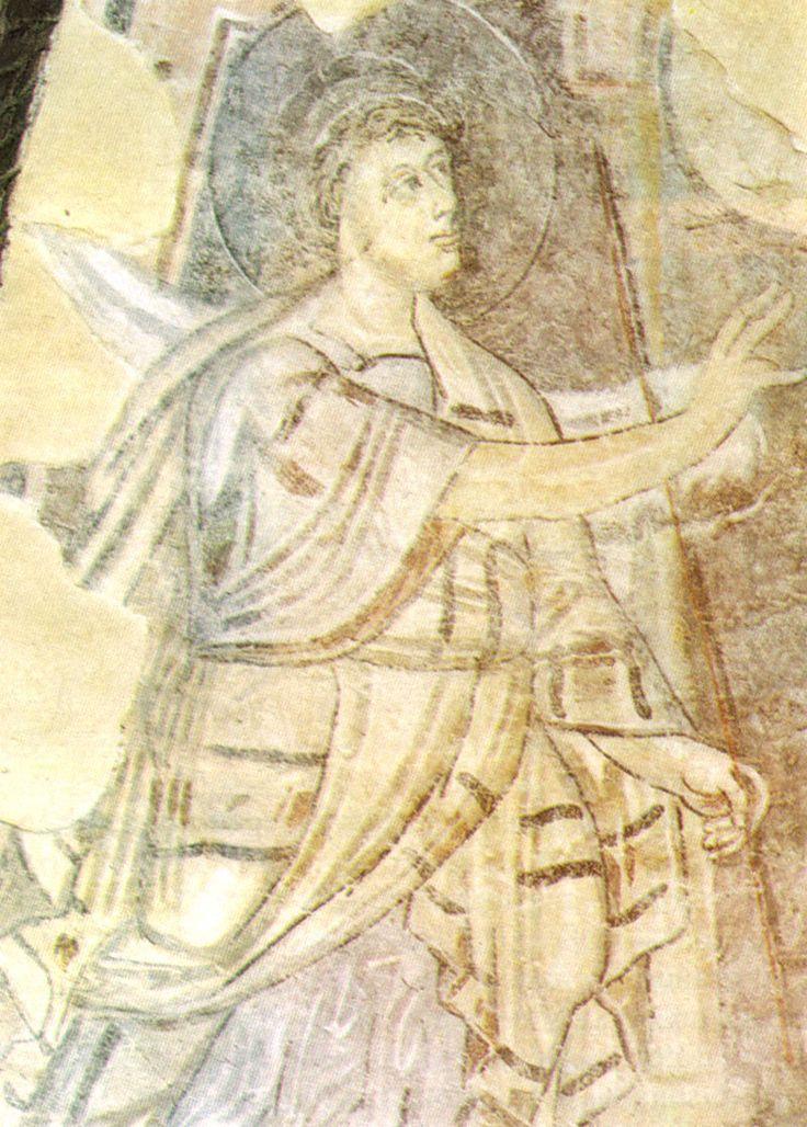 Benevento, chiesa di santa sofia, annuncio a zaccaria (particolare) affresco fine VIII inizio IX secolo - Église Sainte-Sophie de Bénévent.- 10) ADALARD DE CORBIE - Un Homme d'Eglise: Il se fit ermite près de Bénévent, en Italie du Sud, puis devint moine à l'abbaye de Corbie sous l'abbatiat de MAURDRAMNE (772-781), pendant lequel fut rédigée une Bible en 7 écritures différentes dont la minuscule caroline.