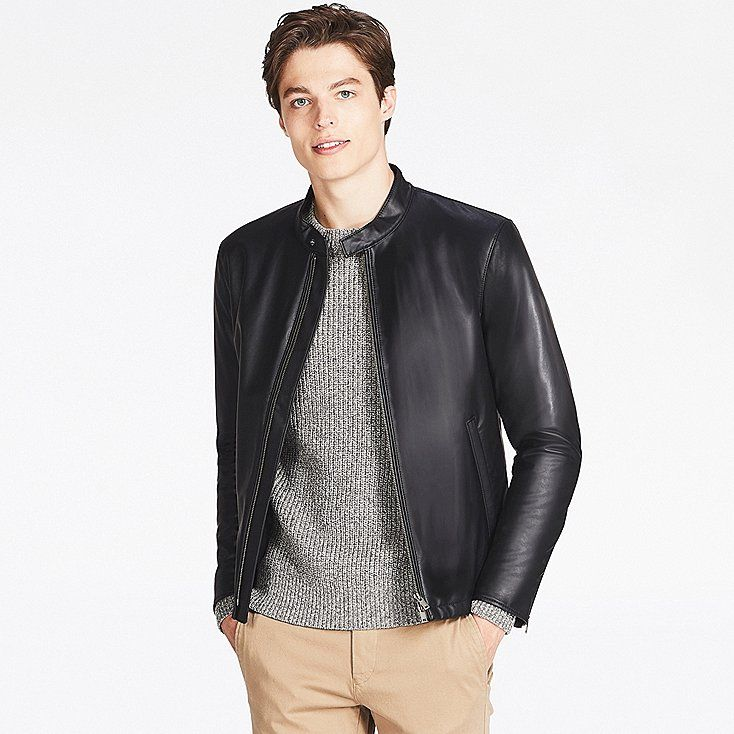 MEN FAUX LEATHER SINGLE-BREASTED JACKET, BLACK, large