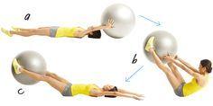 Trabaja los hombros: Ponte en la posición de hacer flexiones, con las manos separadas el ancho de los hombros y las tibias apoyadas sobre un fitball (a). Manteniendo las caderas perpendiculares al suelo, levanta la mano derecha y tócate el hombro izquierdo (b). Regresa a la posición inicial y repite con el otro brazo. Continúa alternando hasta llegar a 26 repeticiones.
