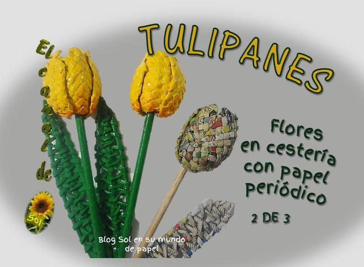 Tulipanes, flores en cestería con papel periódico