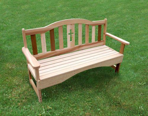 5' Cedar Holy Cross Garden Bench