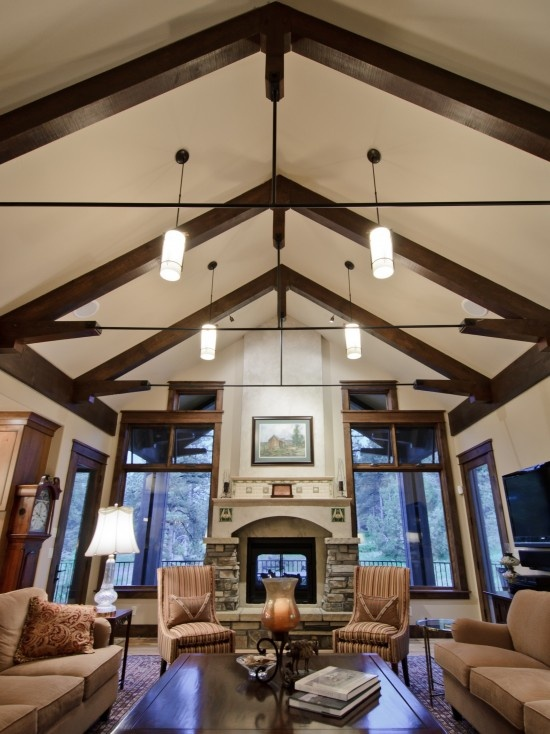 14 best images about lighting on pinterest stove for Great room lighting high ceilings