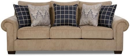 "7592BR-03 GAVIN MUSHROOM 95"" Sofa with Reversible Cushions Toss Pillows Included Pocket Coil Seating Hardwood Lumber Frame and Chenille Fabric Upholstery"