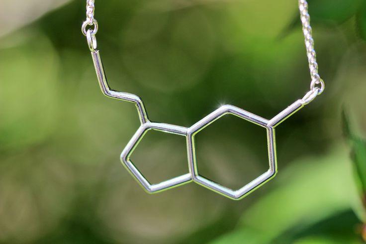 Silver serotonin molecule necklace