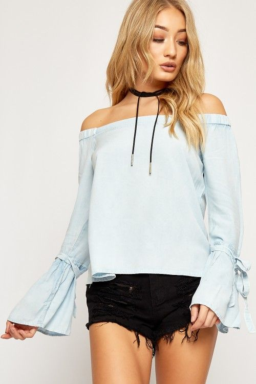 ✌ Nicole Denim Bardot Chambray Boho Top ✌ #2017 #fashion #women #summer #photography #cute #sexy #print #OOTD #Outfit of the Day #style #inspiration #ss17 #belted  #boho  #denim #off shoulder #casual  #crop #top