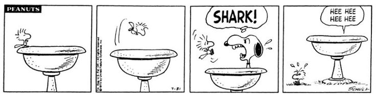 Peanuts cartoon referencing the JAWS phenomenon from July 1975