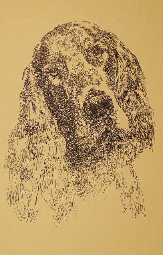 Gordon Setter Dog Art Print Kline Magic Signed and