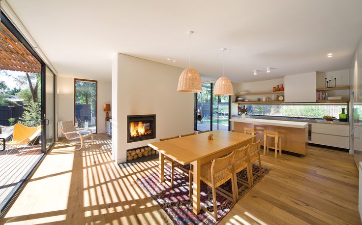 Open-plan living, dining and kitchen areas