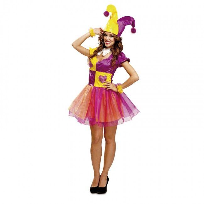 Disfraz de Arlequín Bufona de Picas para mujer #disfraces #carnaval #novedades2017