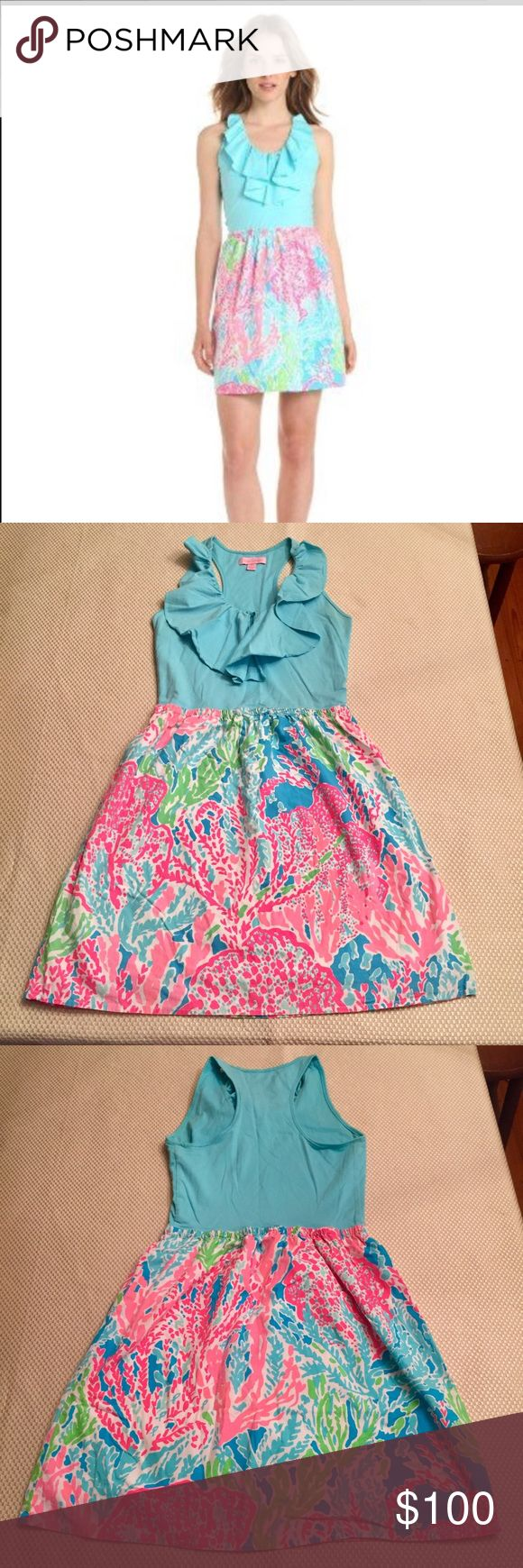 """*Best print EVER* Danita Dress- Let's Cha Cha- XS This Lilly Pulitzer dress got 5 star reviews and sold out fast in 2013!  The top is a knit  with a feminine flounce detail with razor back ,while the bottom is fabulous woven skirt sitting 18"""" from your natural waist. Worn with love for one season. Lilly Pulitzer Dresses Mini"""