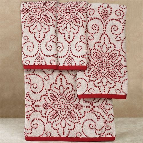 French Perle Groove Christmas Bath Towel Set Red Bath Hand Two