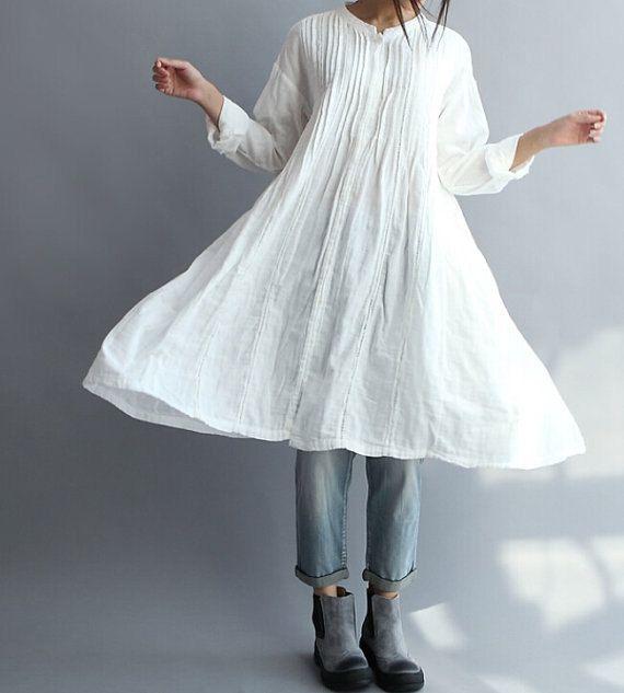 Frauen lange Baumwollhemd weiß Kleid