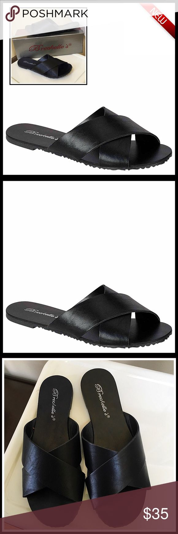 "⭐️⭐️ Slip-On SANDALS Flats Slides 💟NEW WITH TAGS💟  Slip-On SANDALS Flats Vegan Leather Look Slides Flip Flops  * Crisscross vamp, wide soft strap   * Ballet flat design  * Textured grip sole   * Open toe and slip on style.  * True to size  * Approx 0.25"" high heel Fabric- manmade upper & sole Color- Black Item# flatform mule gladiator  🚫No Trades🚫 ✅ Offers Considered*✅ *Please use the blue 'offer' button to submit an offer. Breckelles Shoes Flats & Loafers"