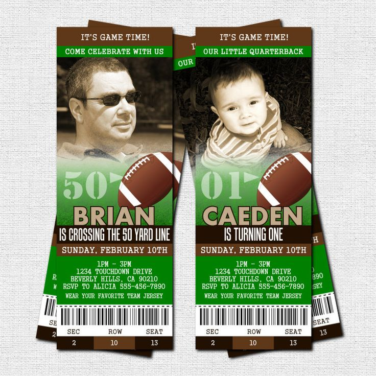 FOOTBALL TICKET INVITATIONS Birthday Party - (print your own) 50 Yard Line Personalized Printable. $9.00, via Etsy.